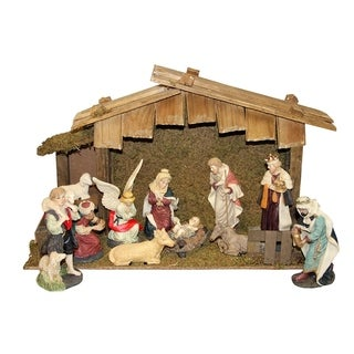 12-Piece Hand Painted Religious Christmas Nativity Figurine and Stable Set