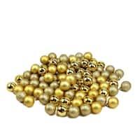 "96ct Vegas Gold 4-Finish Shatterproof Christmas Ball Ornaments 1.5"" (40mm)"