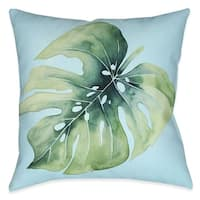 """Laural Home Green Palm Leaves I Indoor Decorative Pillow 18""""X18"""""""