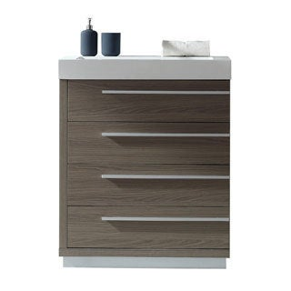 Virtu USA Bailey 30 Inch Polymarble Single Bathroom Vanity Partset (Option:  White)