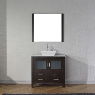 Virtu USA Dior 32-inch White Marble Single Bathroom Vanity Set with Faucet Options