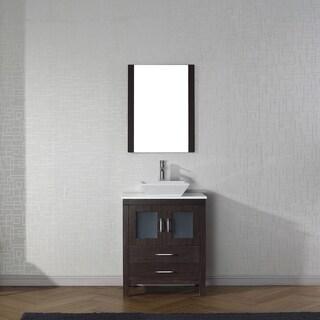 Virtu USA Dior 28-inch White Stone Single Bathroom Vanity Set with Faucet Options
