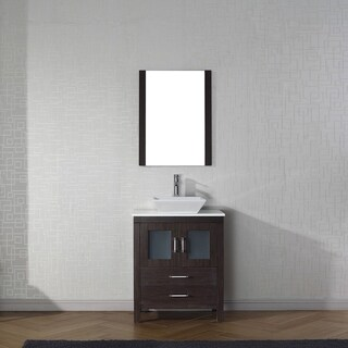 Virtu USA Dior 28-inch White Stone Single Bathroom Vanity Set with Faucet Options
