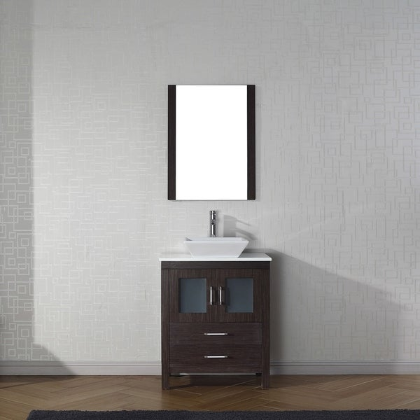 Delightful Virtu USA Dior 28 Inch White Stone Single Bathroom Vanity Set With Faucet  Options