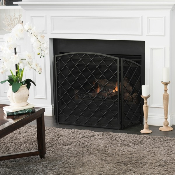 Amiyah 3-Panel Iron Fireplace Screen by Christopher Knight Home