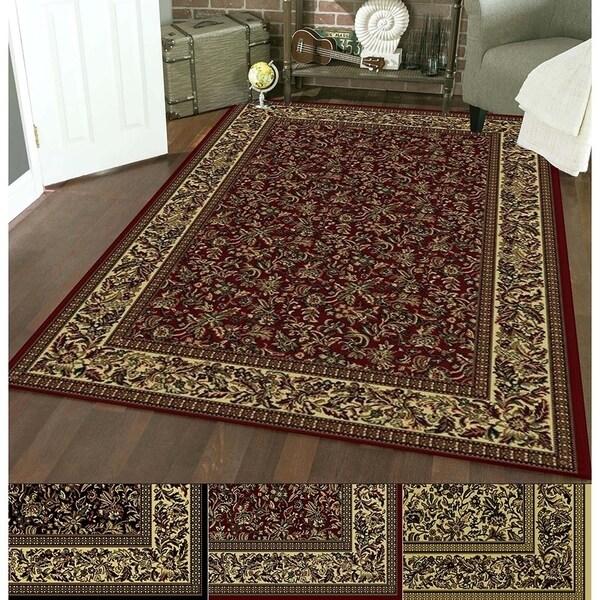 Admire Home Living Caroline Floral Heat-set Emerlen Rug (7'9 x 11') - 7'9 x 11'