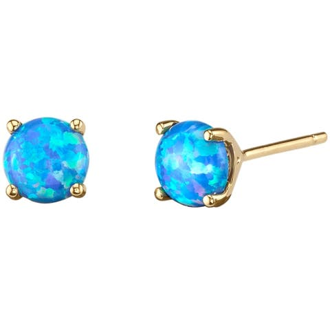 14K Oravo Yellow Gold Round Cut Created Blue Opal Stud Earrings
