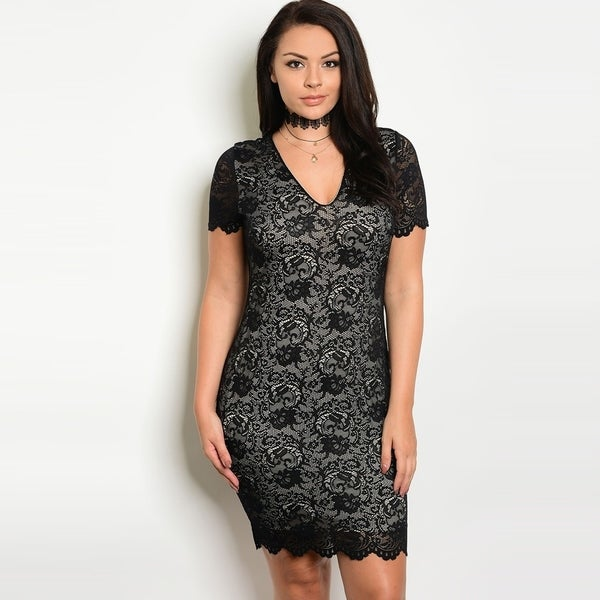 Shop The Trends Womens Plus Size Short Sleeve Bodycon Lace Dress