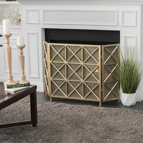 Margaret 3-Panel Iron Fireplace Screen by Christopher Knight Home