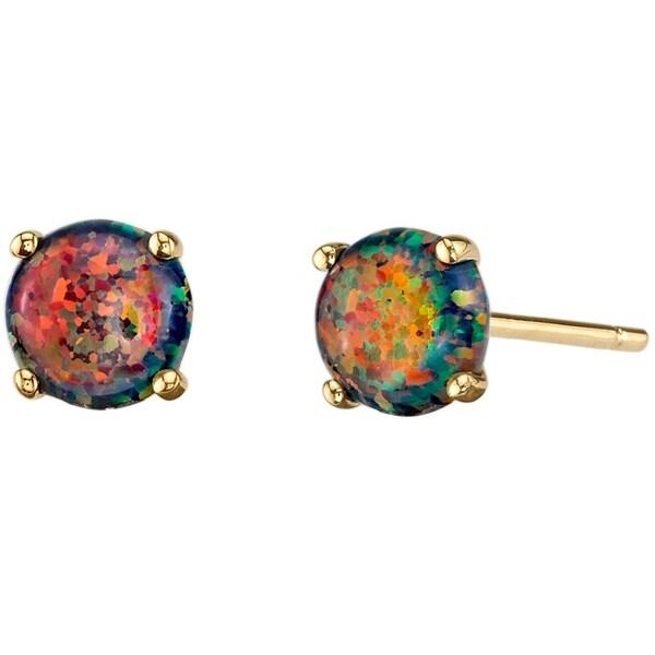 14k Oravo Yellow Gold Round Cut Created Black Opal Stud Earrings