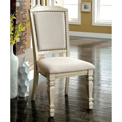 Furniture of America Damm Vintage White Fabric Side Chairs (Set of 2)