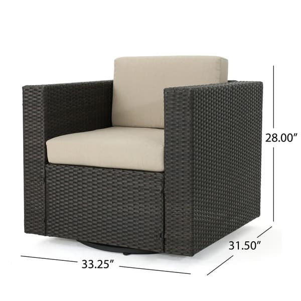 Astounding Shop Puerta Outdoor Wicker Swivel Club Chair With Cushions Cjindustries Chair Design For Home Cjindustriesco