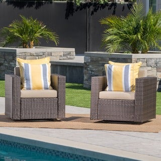 Puerta Outdoor Wicker Swivel Club Chair with Cushions (Set of 2) by Christopher Knight Home
