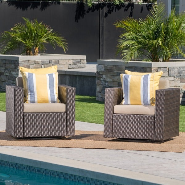 shop puerta outdoor wicker swivel club chair with cushions set of 2