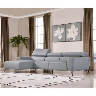 Cranston Modern Grey Fabric Sectional Sofa with Adjustable Headrests