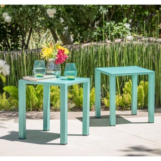 Windsor Outdoor 16-inch Square Aluminum Side Table by Christopher Knight Home (Set of 2)