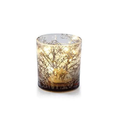 "3"" Long Etched LED Hurricane Candle Holder, Tree Design, Gold (Set of 6)"