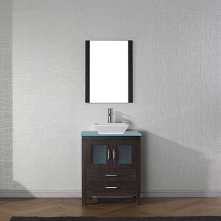 Virtu USA Dior 28-inch Tempered Glass Single Bathroom Vanity Set with Faucet Options