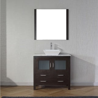 Virtu USA Dior 30-inch White Marble Single Bathroom Vanity Set with Faucet Options