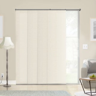 Chicology Adjustable Sliding Panels / Cut to Length, Curtain Drape Vertical Blind, Natural Woven, Privacy - Abaca Alabaster