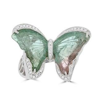 La Vita Vital 14K White Gold Tourmaline 6.19TGW & Diamond 0.14cts Ring