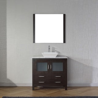 Virtu USA Dior 36-inch White Marble Single Bathroom Vanity Set with Faucet Options