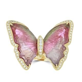 La Vita Vital 14K Yellow Gold Tourmaline 10.90TGW & Diamond 0.28cts Ring
