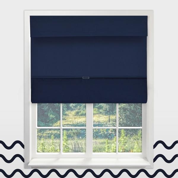 overstock roman shades chicology sailorx27s navy cordless magnetic thermal room darkening roman shades shop sailors