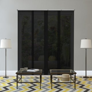Chicology Adjustable Sliding Panels / Cut to Length, Curtain Drape Vertical Blind, Solar, Block Out UV Rays - Midnight Black