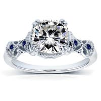 Annello by Kobelli 14k White Gold 1-3/4ct TGW Antique Cushion-cut Moissanite Engagement Ring with Blue Sapphire