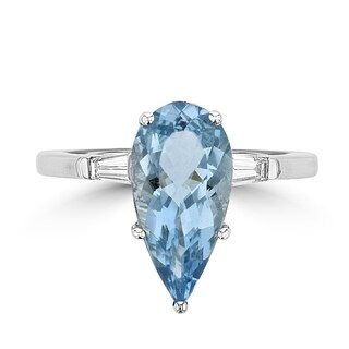 La Vita Vital 14K White Gold Aquamarine 2.82TGW & Diamond 0.30cts Ring