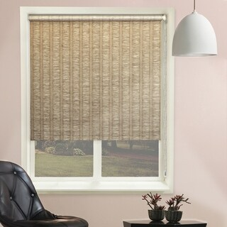 Chicology Florence Latte Continuous Loop Beaded Chain Natural Woven Privacy Roller Shades