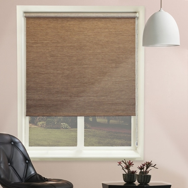 Chicology Lattice Latte Beaded-Chain Natural Woven Privacy Roller Shades