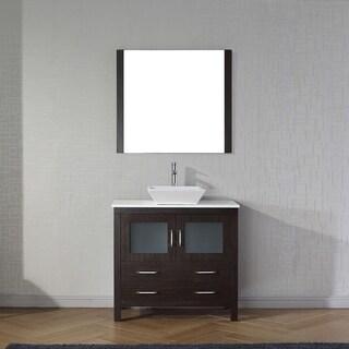 Virtu USA Dior 36-inch White Stone Single Bathroom Vanity Set with Faucet Options