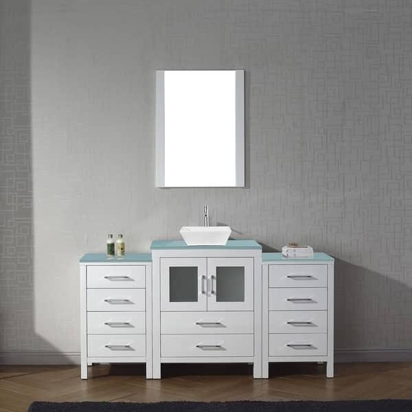 48 Inch Bath Vanity, Shop Dior 64 In Tempered Glass Single Bathroom Vanity Set Overstock 17365902
