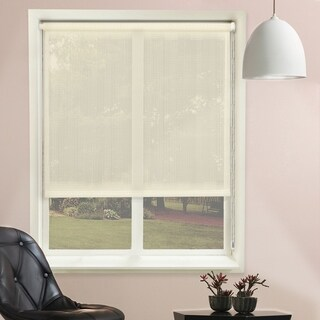 Chicology Continuous Loop Beaded Chain Roller Shades / Window Blind Curtain Drape, Sheer, See Through - Lydia Cream
