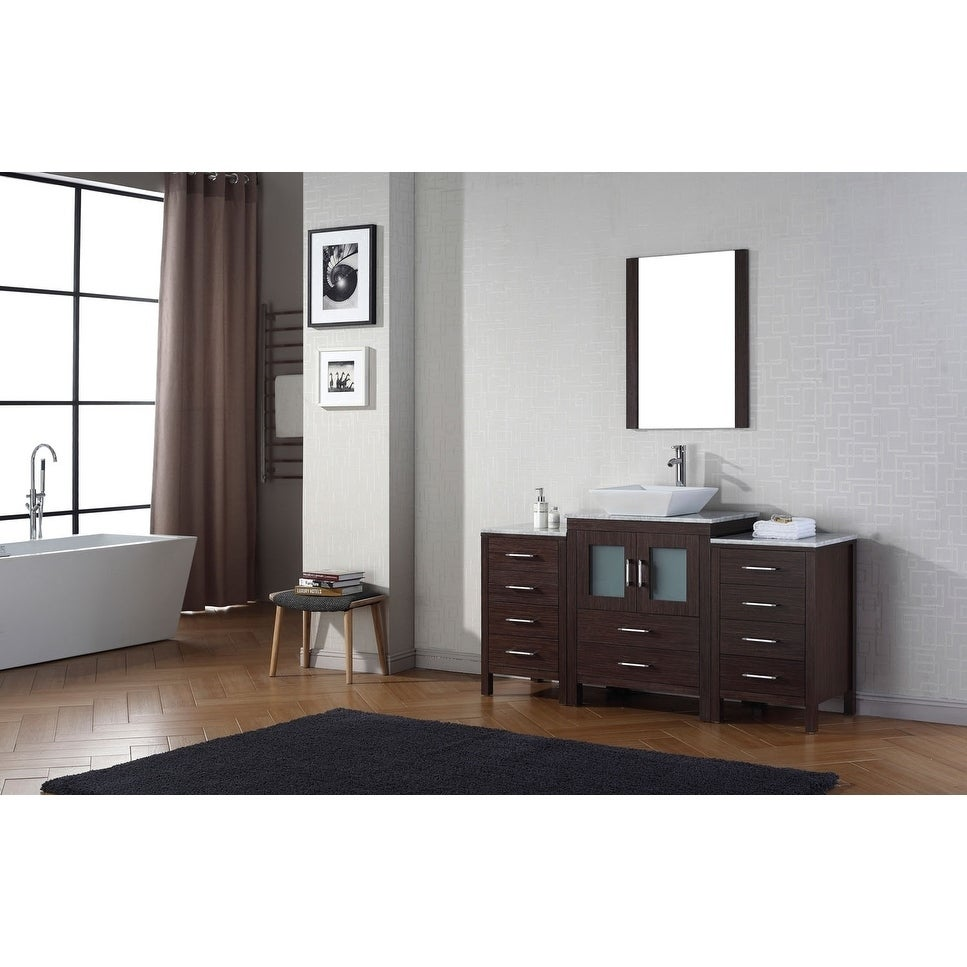 Virtu USA Dior 64 Inch White Marble Single Bathroom Vanity Set With Faucet