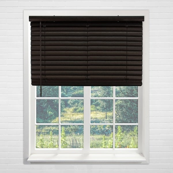 Chicology Dark Walnut Cordless Variable Light Control 2-Inch Vinyl Mini Blinds