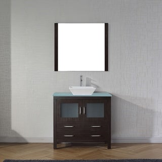 Virtu USA Dior 36-inch Tempered Glass Single Bathroom Vanity Set with Faucet Options