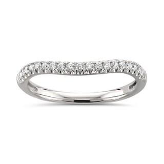 Montebello 14k White Gold 1/4ct TDW White Diamond Curved Wedding Band - White H-I