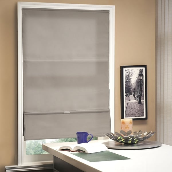 overstock roman shades thermal chicology allure taupe cordless magnetic roman shade shop free