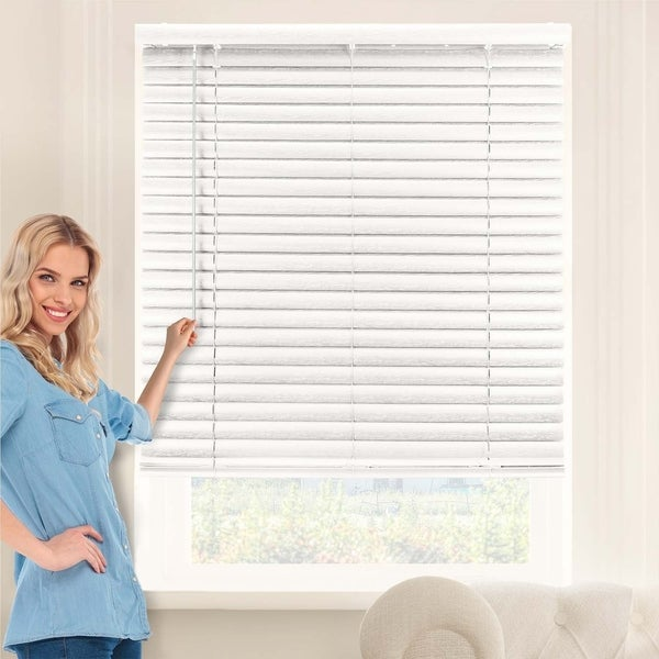 Chicology Picked Oak Cordless Variable Light Control 2-Inch Vinyl Mini Blinds