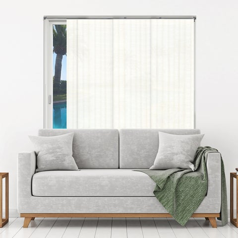 """Chicology Seaside White Adjustable Cut-to-length Natural Woven Sliding Panels - up to 80""""w x 96""""h"""