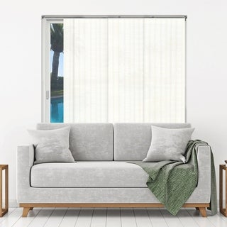 Chicology Adjustable Sliding Panels / Cut to Length, Curtain Drape Vertical Blind, Natural Woven, Privacy - Seaside White