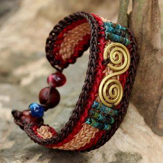 Handmade Brass 'Siam Spirals' Turquoise Bracelet (Thailand)