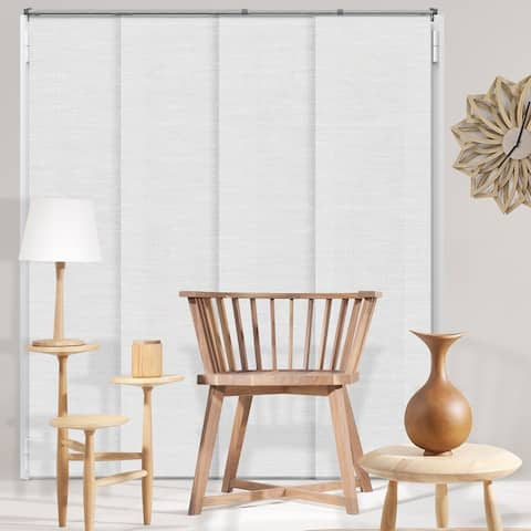 """Chicology Birch White Adjustable Natural Woven Sliding Panels - up to 80""""w x 96""""h"""