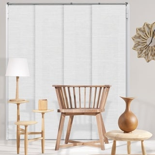 Chicology Adjustable Sliding Panels / Cut to Length, Curtain Drape Vertical Blind, Natural Woven, Privacy - Birch White