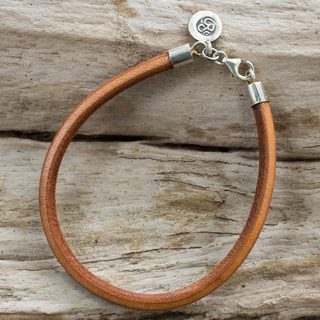 Handmade Silver Leather 'Serenity Within' Bracelet (Thailand) - Brown/White