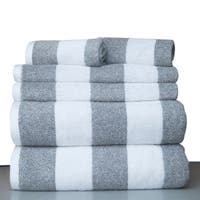 100 Percent Fine Combed Cotton Stripe 6 Piece Bath Towel Set
