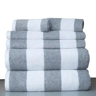 100 Percent Fine Combed Cotton Stripe 6 Piece Bath Towel Set